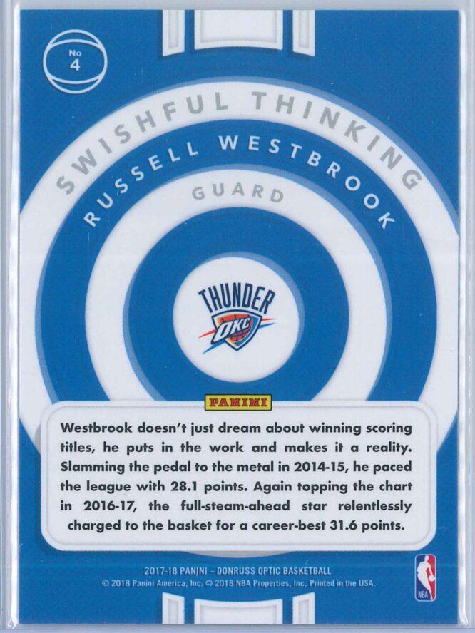 Russell Westbrook Panini Donruss Optic Basketball 2017 18 Swishful Thinking 2
