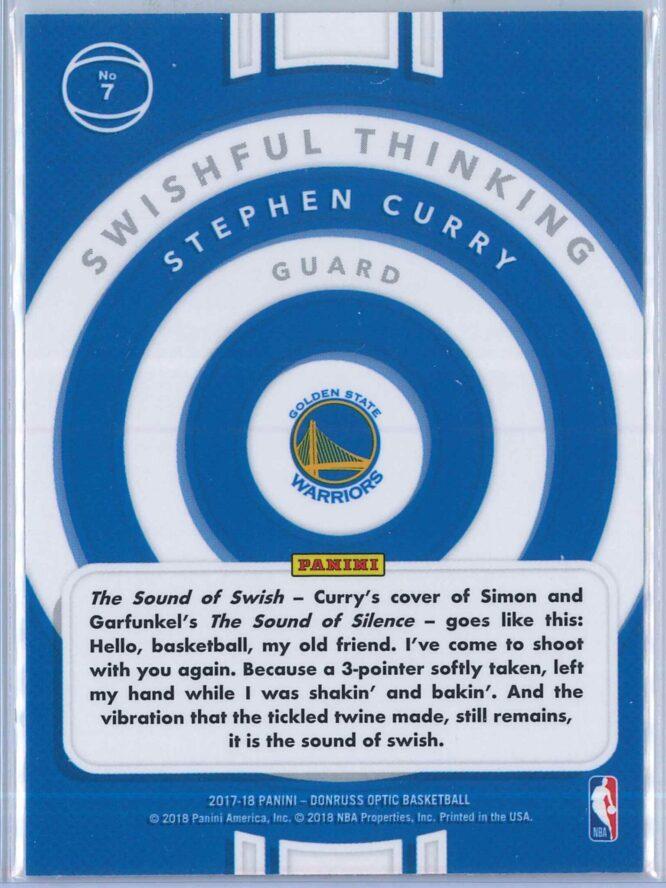 Stephen Curry Panini Donruss Optic Basketball 2017 18 Swishful Thinking 2