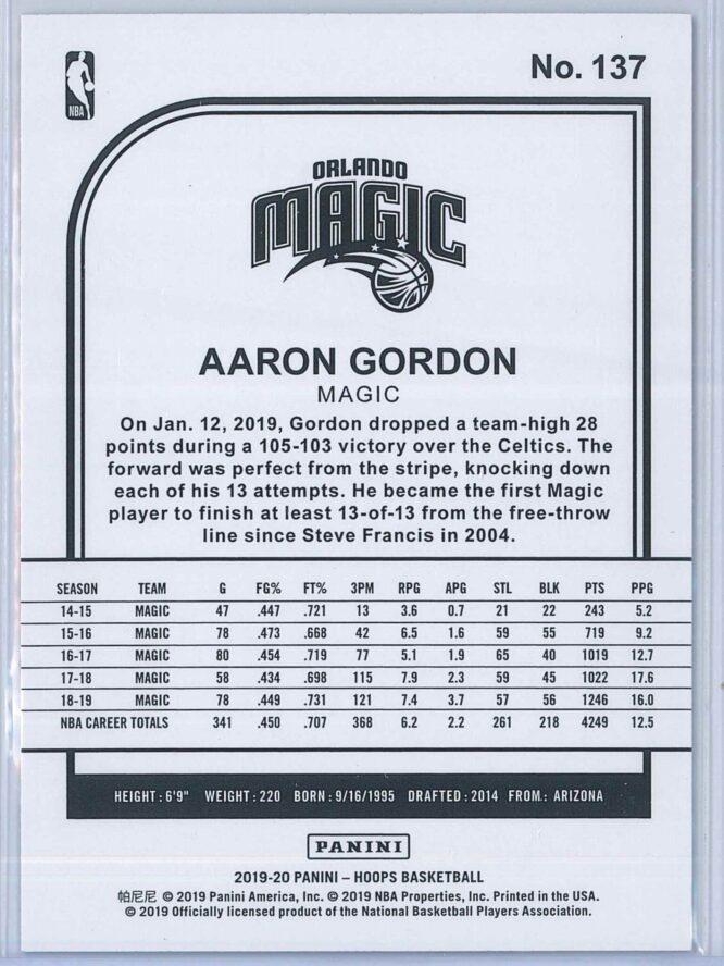 Aaron Gordon Panini NBA Hoops 2019 20 Purple 2