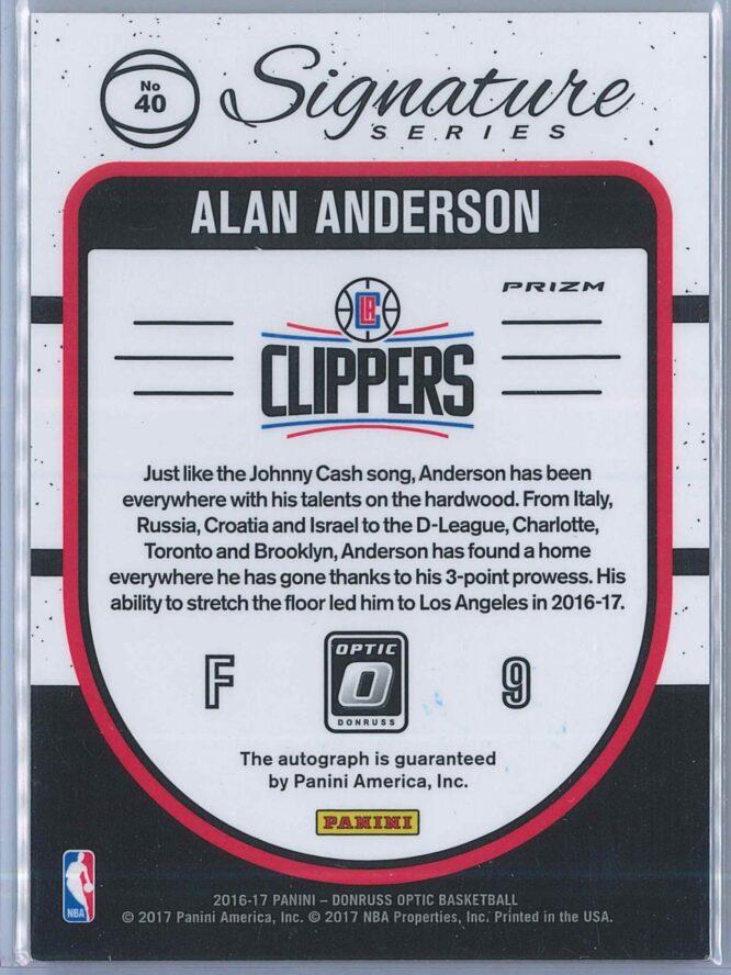 Alan Anderson Panini Donruss Optic Basketball 2016 17 Signature Series Holo Auto 2