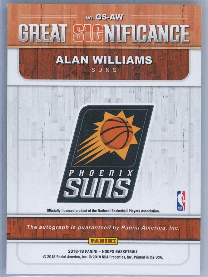 Alan Williams Panini NBA Hoops 2018 19 Great SIGnificance Auto 2