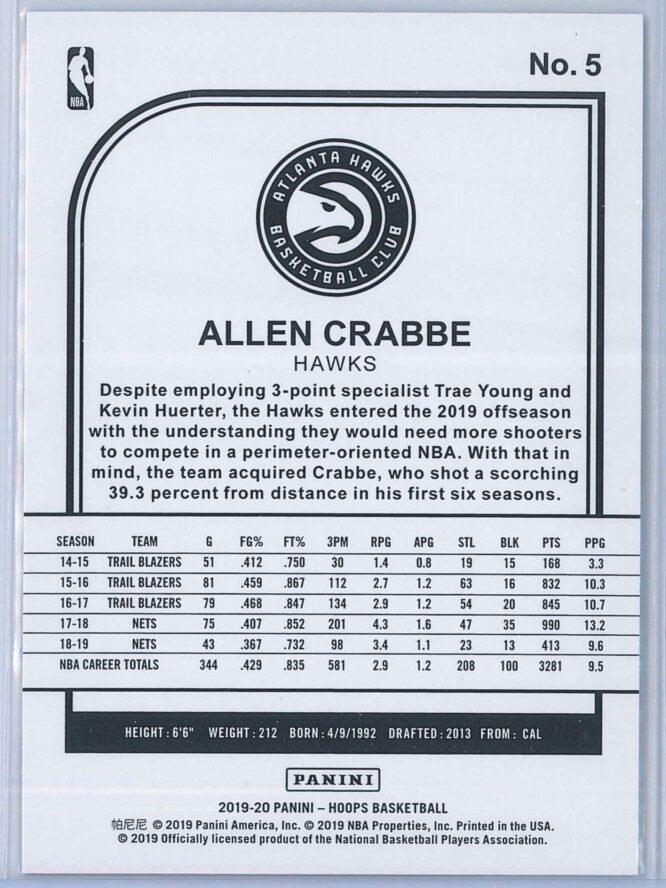 Allen Crabbe Panini NBA Hoops 2019 20 Blue 2