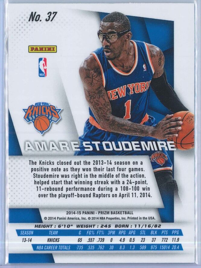 Amare Stoudemire Panini Prizm Basketball 2014 15 Base 2