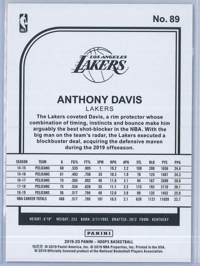 Anthony Davis Panini NBA Hoops 2019 20 Blue 2