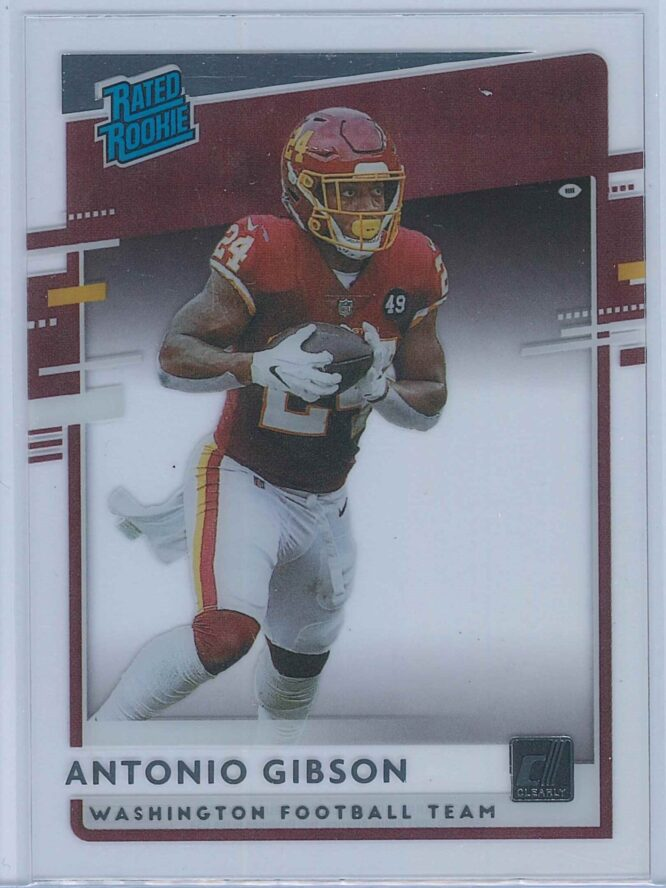 Antonio Gibson Panini Chronicles Football 2020 Clearly Donruss  Rated Rookie
