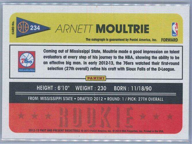 Arnett Moultrie Panini Past And Present Basketball 2012 13 RC Auto 2