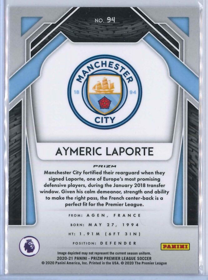 Aymeric Laporte Panini Prizm Premier League Soccer 2020 21 Base Breakaway Prizm 2