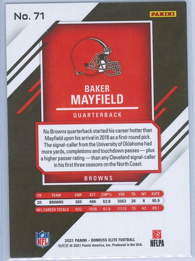 Baker Mayfield Panini Donruss Elite Football 2021 Base 2