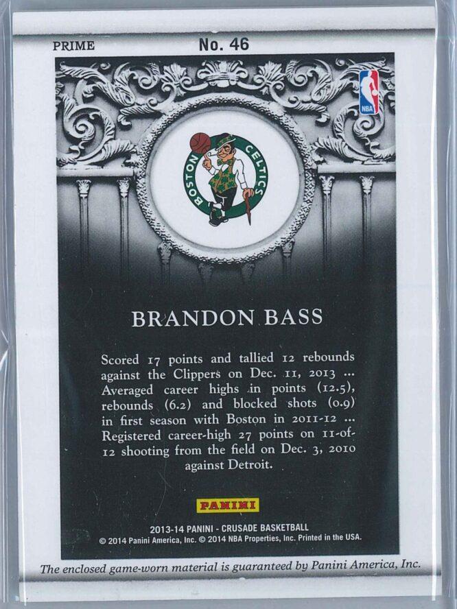 Brandon Bass Panini Crusade 2013 14 Quest Memorabilia Prime 0125 Two Colour Patch 2