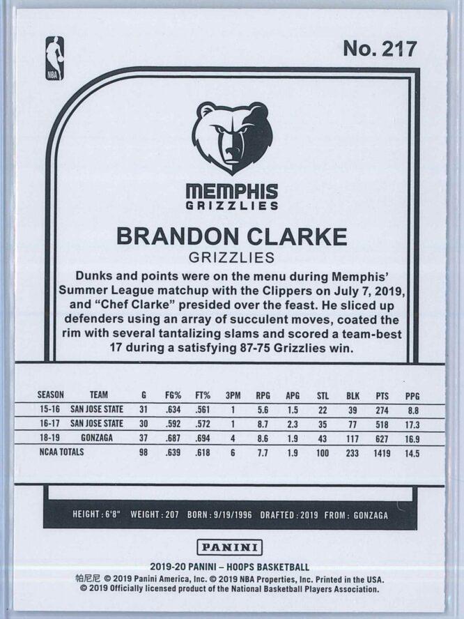 Brandon Clark Panini NBA Hoops Basketball 2019 20 Base Purple RC 2