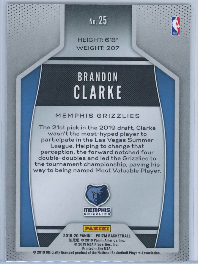 Brandon Clarke Panini Prizm 2019 20 Instant Impact 2