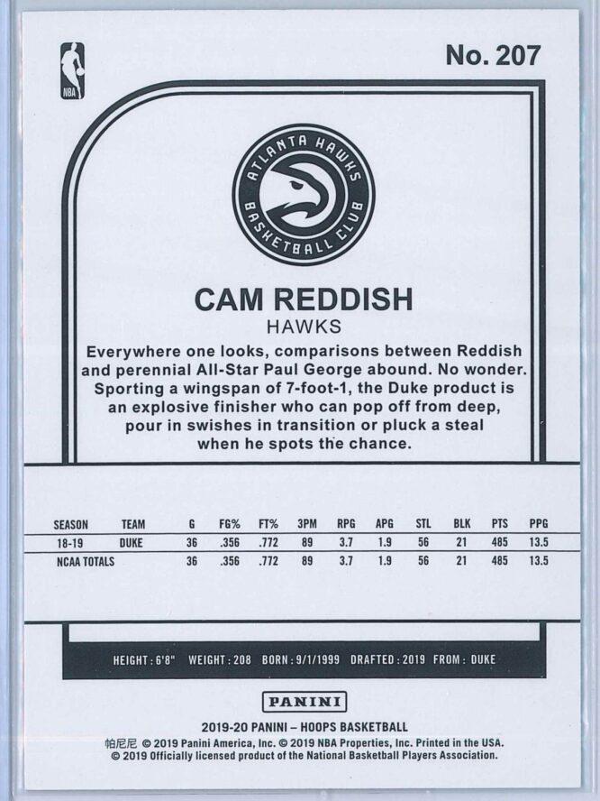 Cam Reddish Panini NBA Hoops Basketball 2019 20 Base Blue RC 2