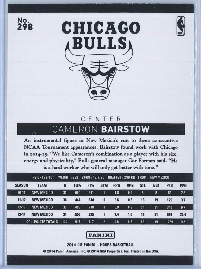 Cameron Bairstow Panini NBA Hoops Basketball 2014 15 Base Green RC 2
