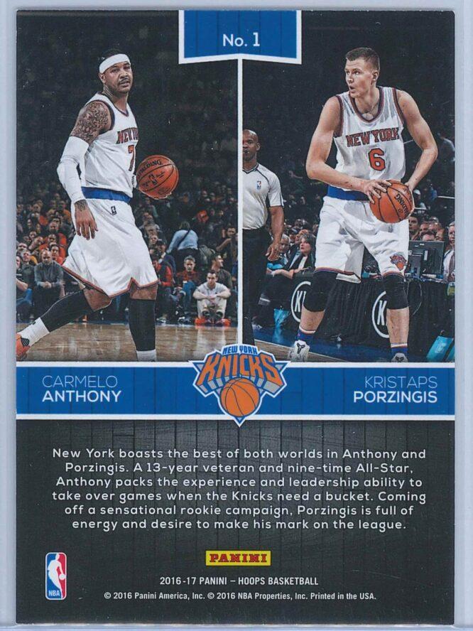 Carmelo Anthony Kristaps Porzingis Panini NBA Hoops Basketball 2016 17 Double Trouble 2
