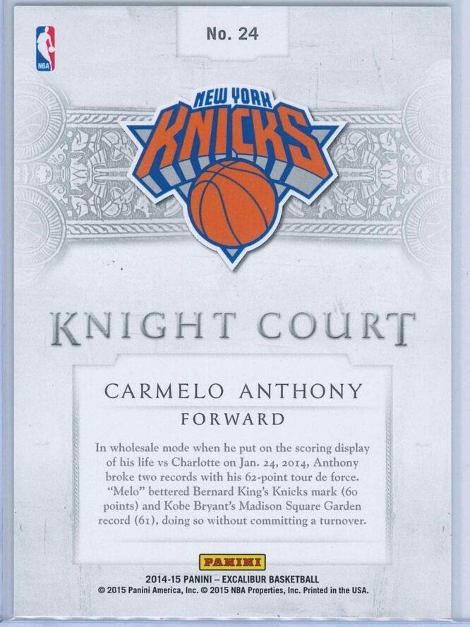 Carmelo Anthony Panini Excalibur Basketball 2014 15 Knight Court Orange 5699 2