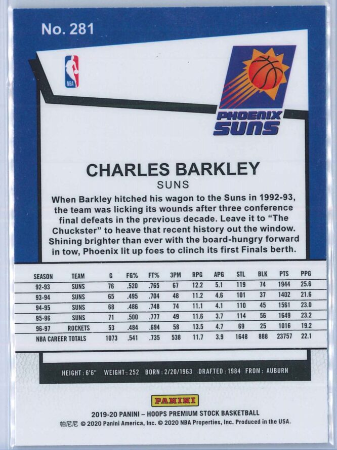 Charles Barkley Panini NBA Hoops Premium Stock 2019 20 Tribute 2
