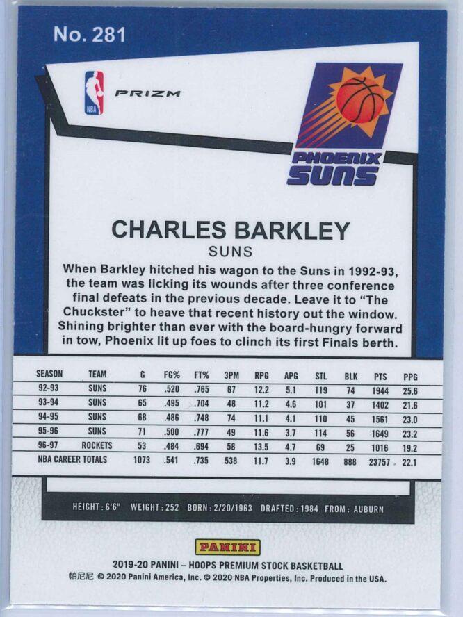 Charles Barkley Panini NBA Hoops Premium Stock 2019 20 Tribute Silver Laser Prizm 2