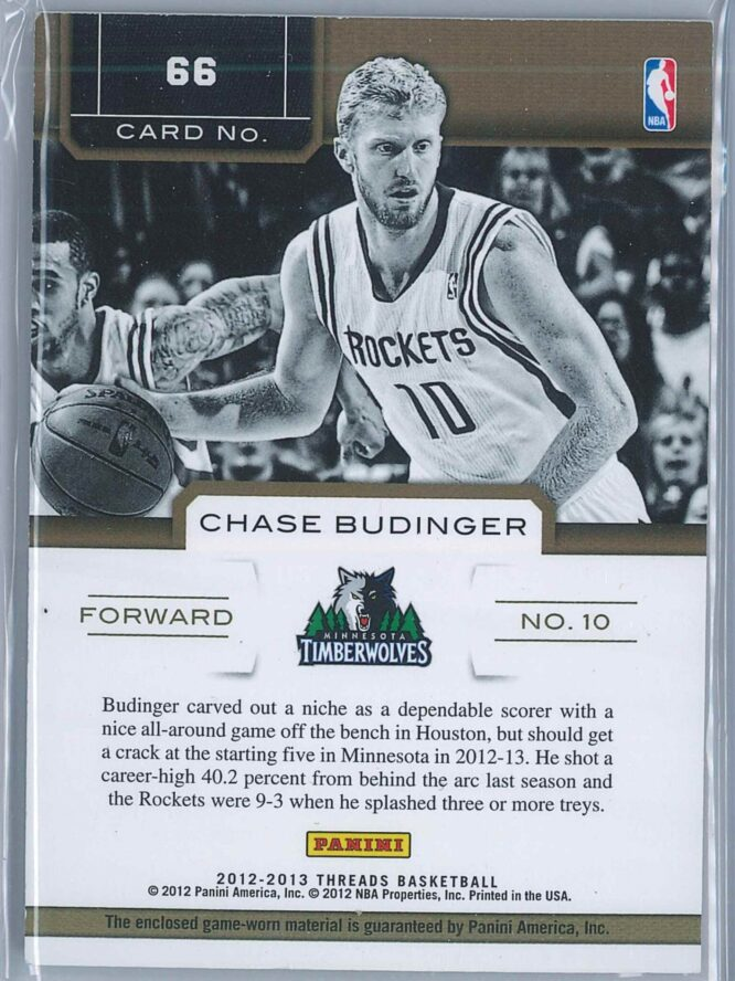 Chase Budinger Panini Threads Basketball 2012 13 Authentic Threads 2