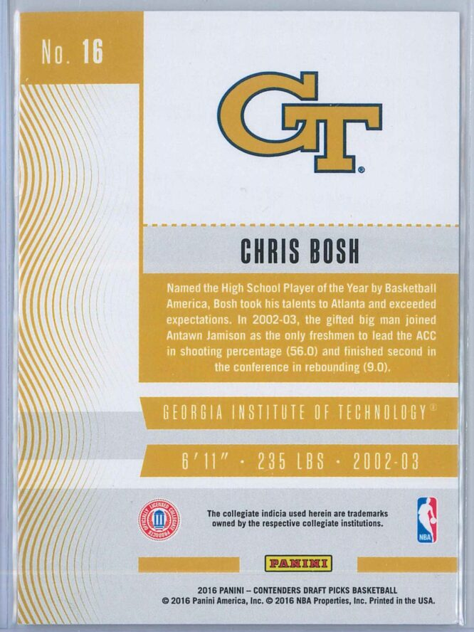 Chris Bosh Panini Contenders Draft Picks Basketball 2016 Season Ticket 2