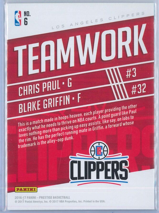 Chris Paul Blake Griffin Panini Prestige Basketball 2016 17 Teamwork 2