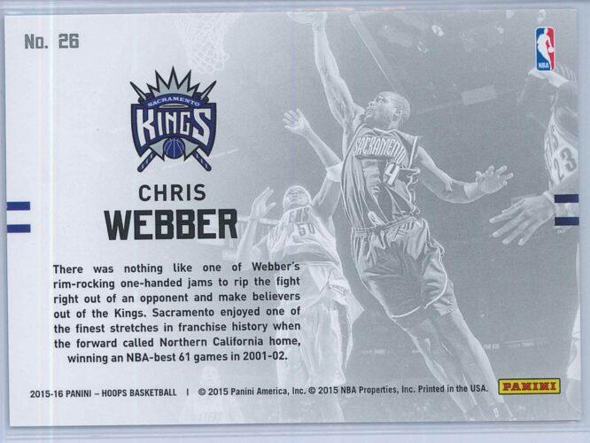 Chris Webber Panini NBA Hoops Basketball 2015 16 Lights Camera Action 2