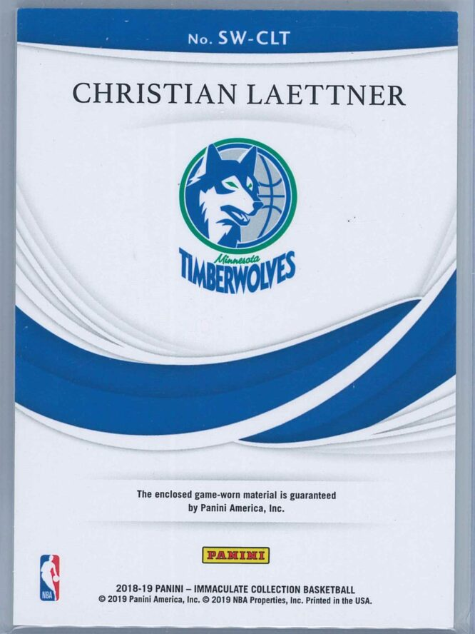 Christian Laettner Panini Immaculate Basketball 2018 19 Swatches 3199 2
