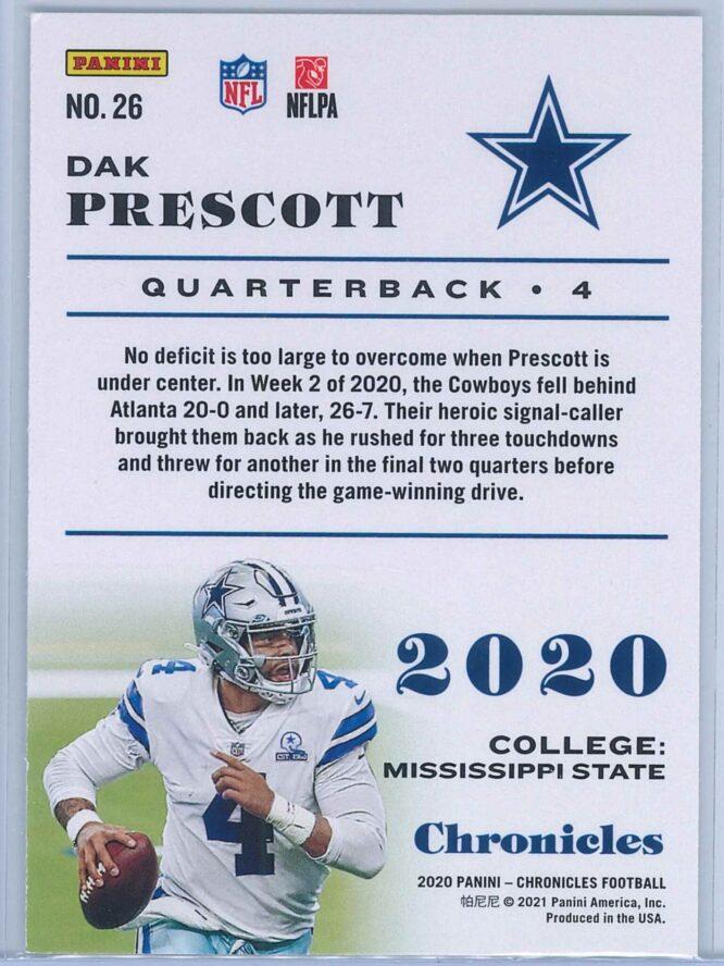 Dak Prescott Panini Chronicles Football 2020 Base 2