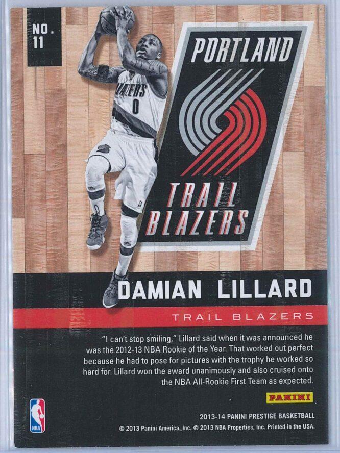 Damian Lillard Panini Prestige Basketball 2013 14 Hardcourt Heroes 2