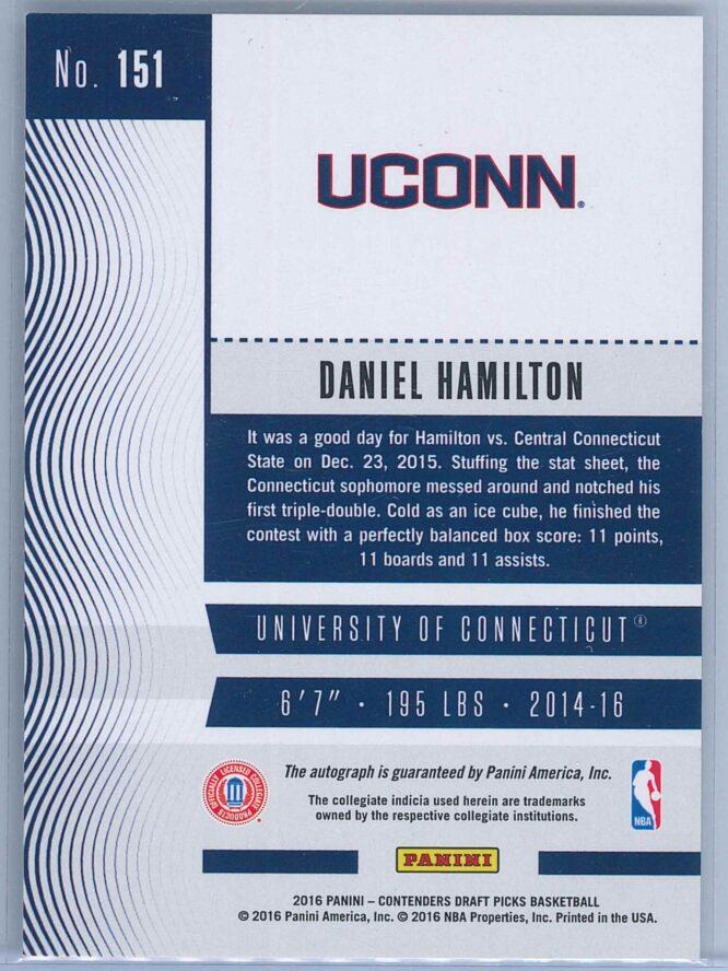 Daniel Hamilton Panini Contenders Basketball 2016 College Ticket Auto 2