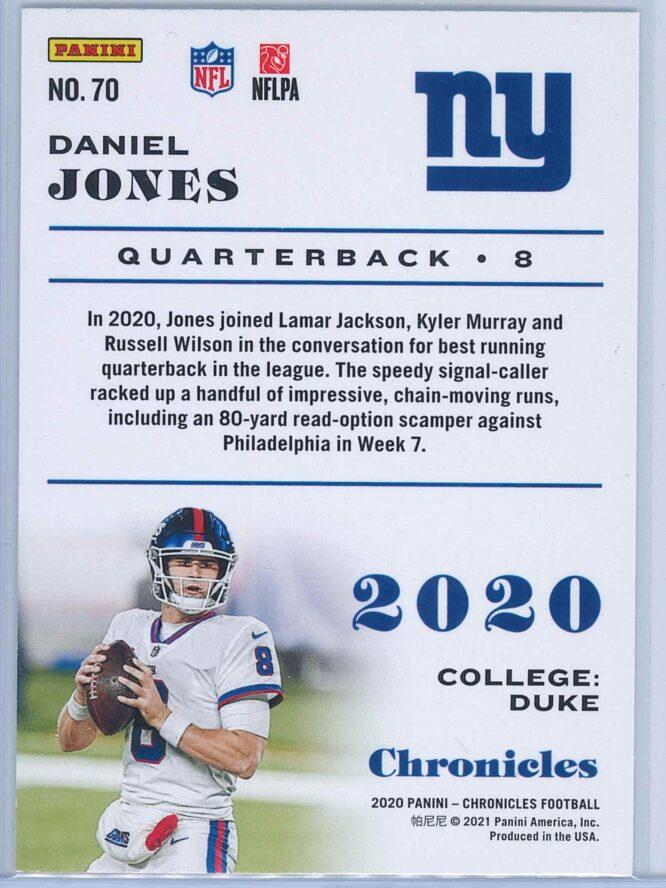 Daniel Jones Panini Chronicles Football 2020 Base Pink 2
