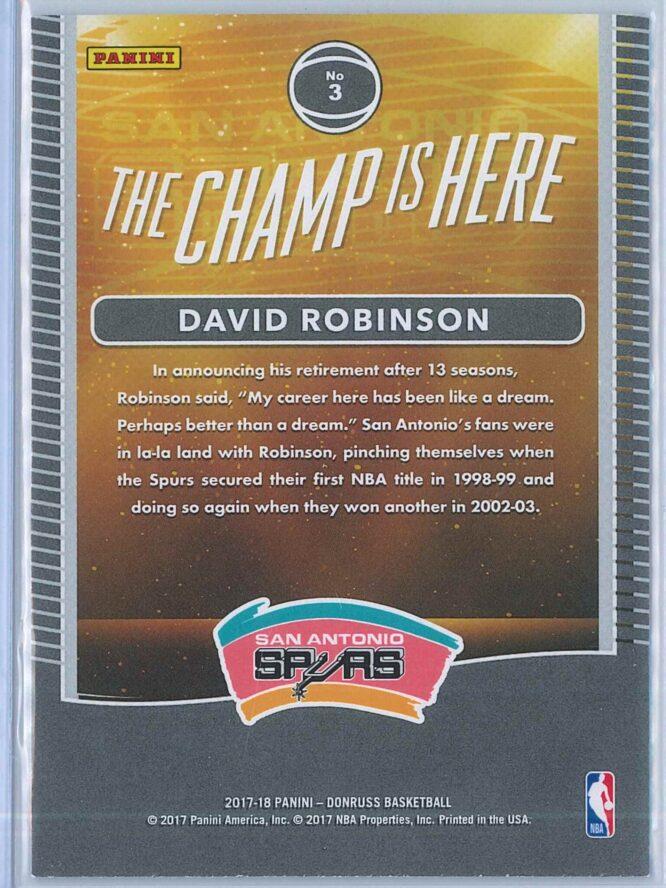 David Robinson Panini Donruss Basketball 2017 18 The Champ Is Here 2
