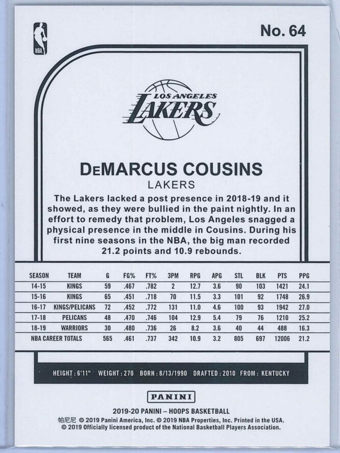 DeMarcus Cousins Panini NBA Hoops 2019 20 Purple 2