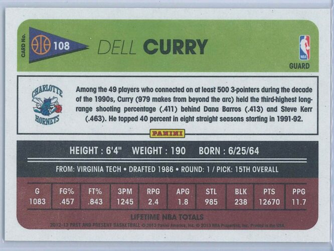 Dell Curry Panini Past And Present Basketball 2012 13 Base 2