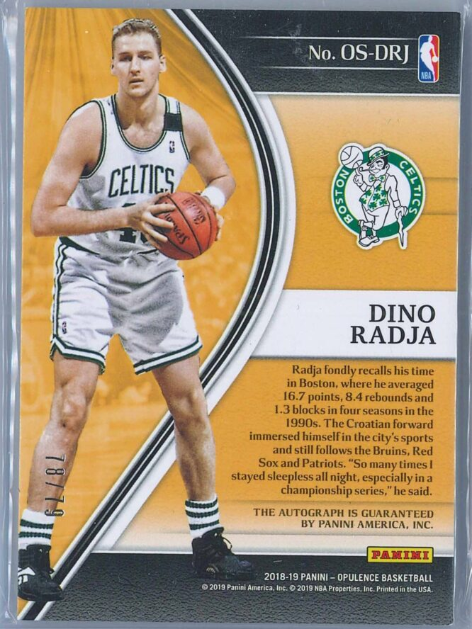 Dino Radja Panini Opulence Basketball 2018 19 Opulent Scripts Auto 7879 2