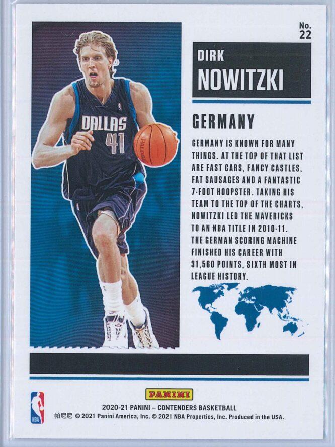 Dirk Nowitzki Panini Contenders Basketball 2020 21 International Ticket 2