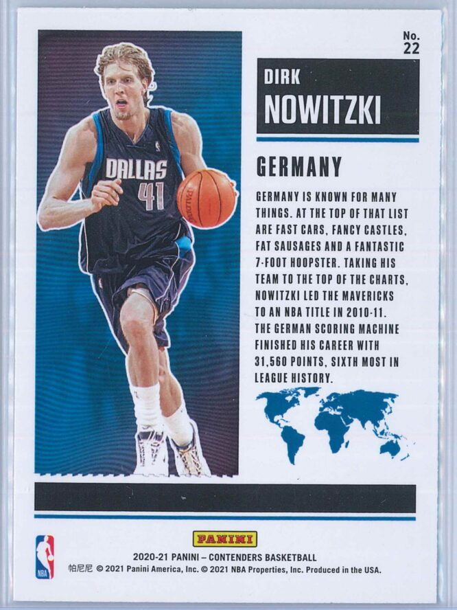 Dirk Nowitzki Panini Contenders Basketball 2020 21 International Ticket Red 2