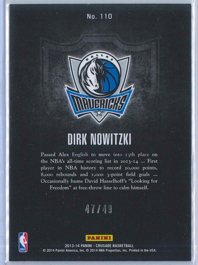 Dirk Nowitzki Panini Crusade Basketball 2013 14 Base Purple 4749 2