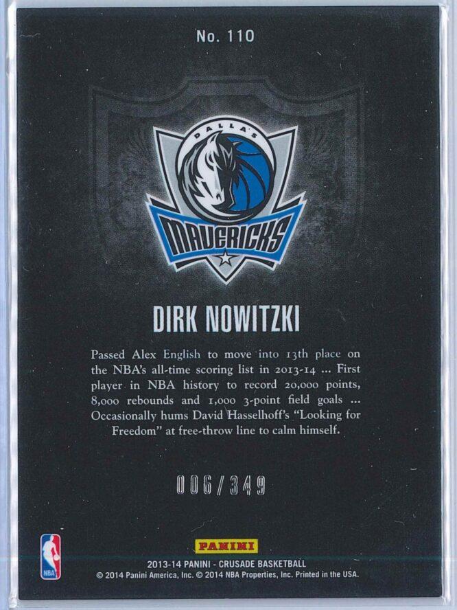 Dirk Nowitzki Panini Crusade Basketball 2013 14 Base Red 006349 2