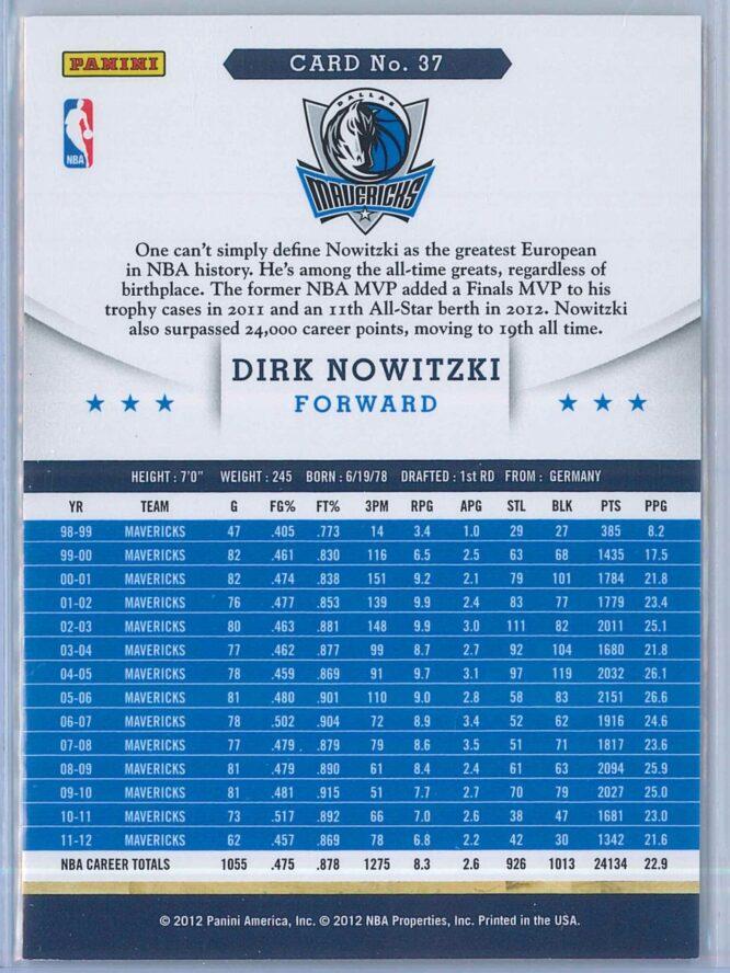 Dirk Nowitzki Panini NBA Hoops 2012 13 Base 2