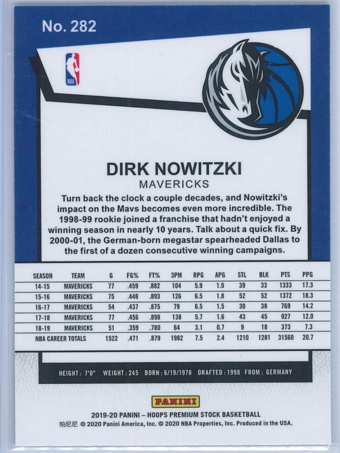 Dirk Nowitzki Panini NBA Hoops Premium Stock 2019 20 Tribute 2