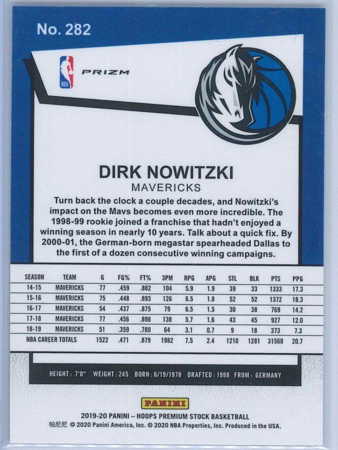 Dirk Nowitzki Panini NBA Hoops Premium Stock 2019 20 Tribute Silver Laser Prizm 2