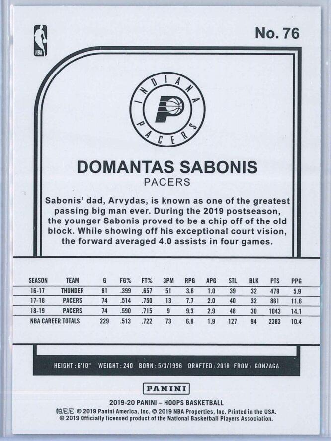 Domantas Sabonis Panini NBA Hoops 2019 20 Purple 2