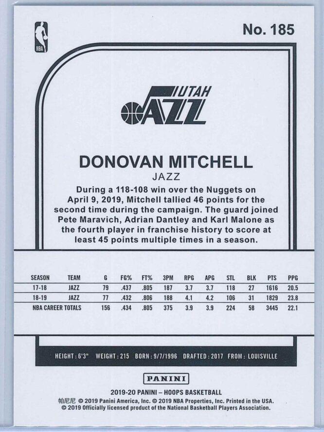 Donovan Mitchell Panini NBA Hoops 2019 20 Blue 2