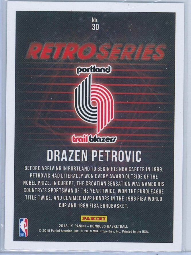 Drazen Petrovic Panini Donruss Basketball 2018 19 Retro Series 2
