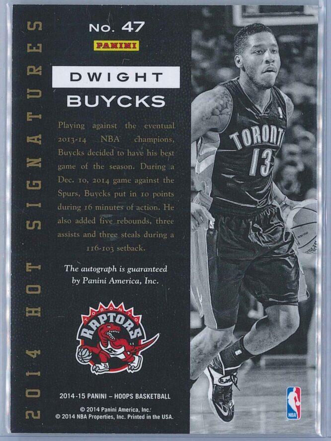 Dwight Buycks Panini NBA Hoops 2014 15 Hot Signatures Auto 2