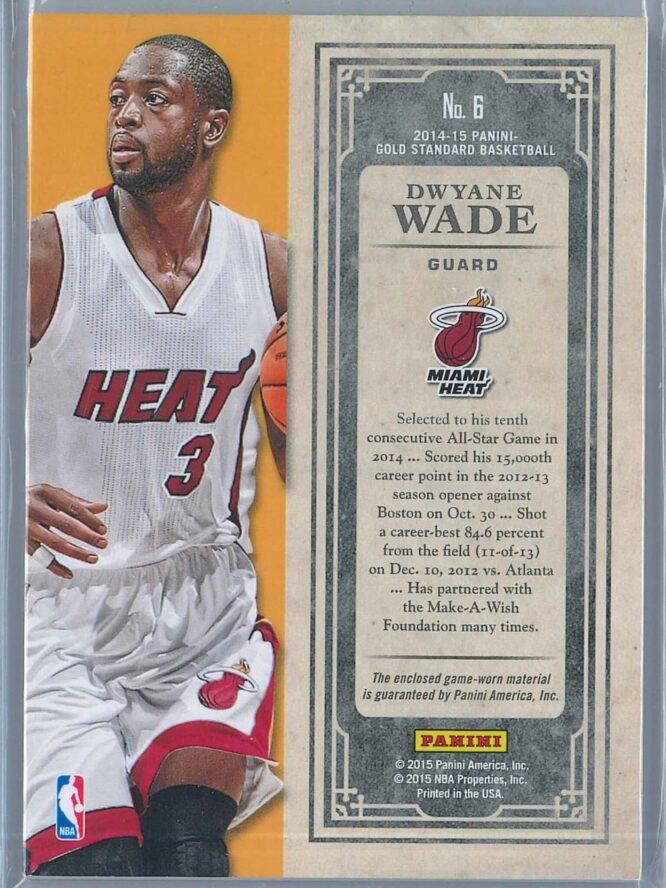 Dwyane Wade Panini Gold Standard Basketball 2014 15 Black Gold Threads 2525 2