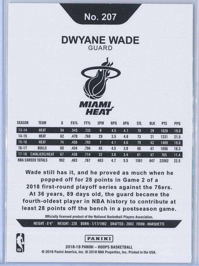 Dwyane Wade Panini NBA Hoops 2018 19 Base 2