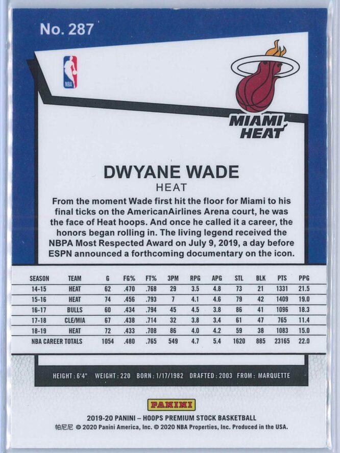 Dwyane Wade Panini NBA Hoops Premium Stock 2019 20 Tribute 2