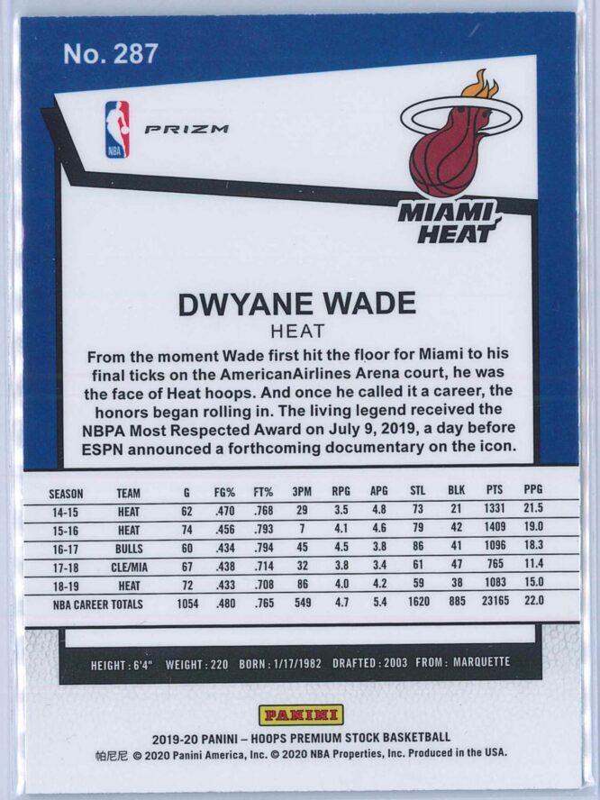 Dwyane Wade Panini NBA Hoops Premium Stock 2019 20 Tribute Green Prizm 2