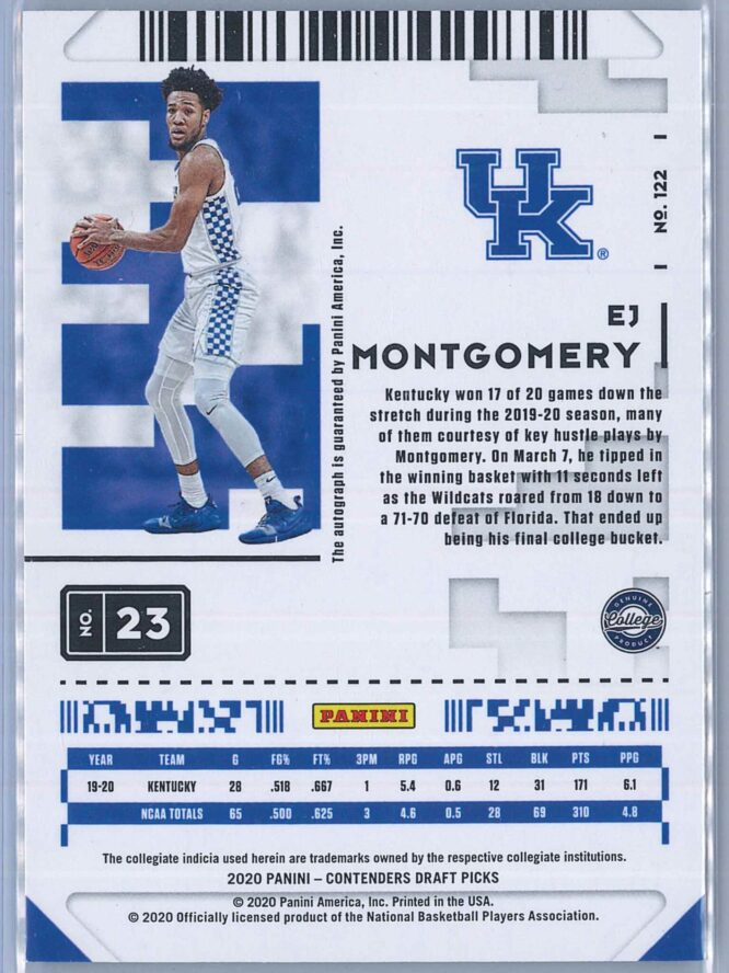 EJ Montgomery Panini Contenders Basketball 2020 Game Ticket RC Auto 2